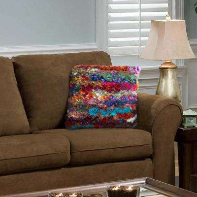 Felicity Multi-Color 26 in. x 26 in. Chindi Decorative Floor Pillow