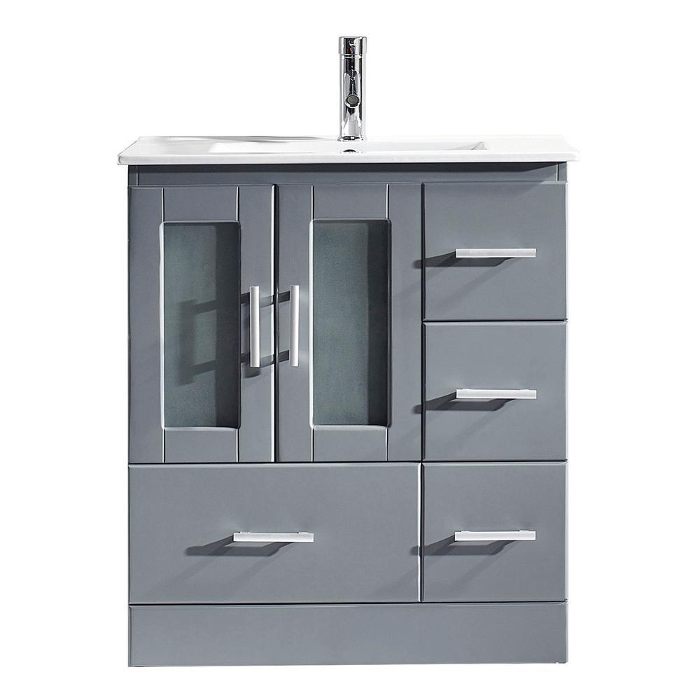 Virtu USA Zola 30 in. W Bath Vanity in Gray with Ceramic Vanity Top in Slim White Ceramic with Square Basin and Faucet