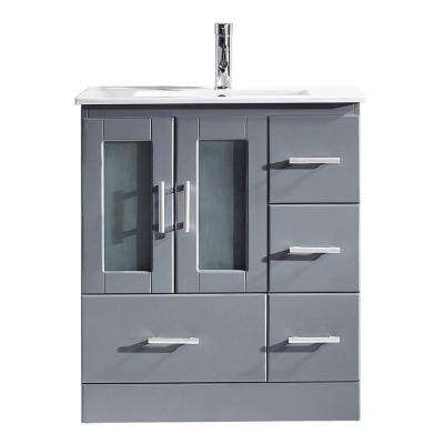 Zola 30 in. W x 18 in. D Vanity in Gray with Ceramic Vanity Top in White with White Basin with Chrome Faucet