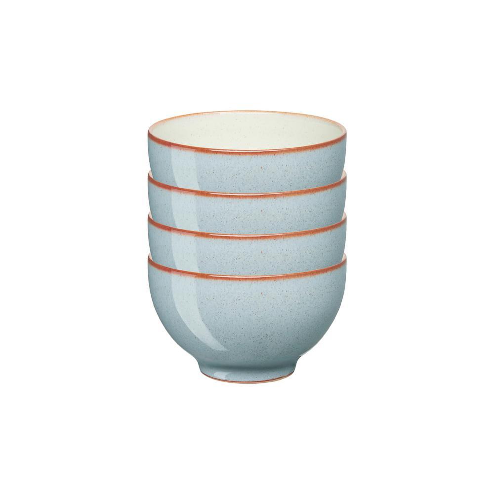 Heritage Terrace Stoneware 10 fl. oz. Light Blue Small Bowls (Set of 4)