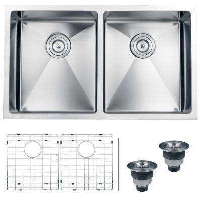 Undermount Stainless Steel 32 in. 50/50 16-Gauge Double Bowl Kitchen Sink