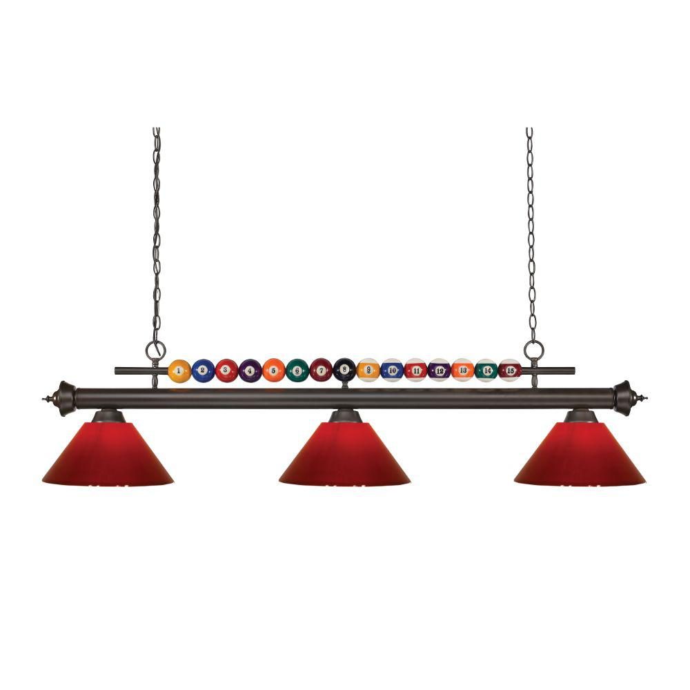 3-Light Bronze Billiard Light with Red Plastic Shade