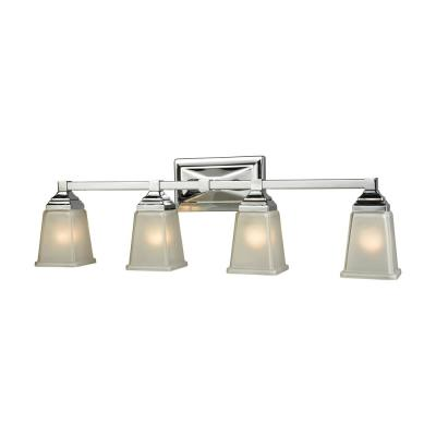 Sinclair 4-Light Polished Chrome With Frosted Glass Bath Light