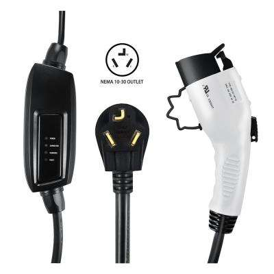 240-Volt 16 Amp Level 2 EV Charger with 21 ft. (6.4 m) Extension Cord J1772 Cable and NEMA 10-30 Plug