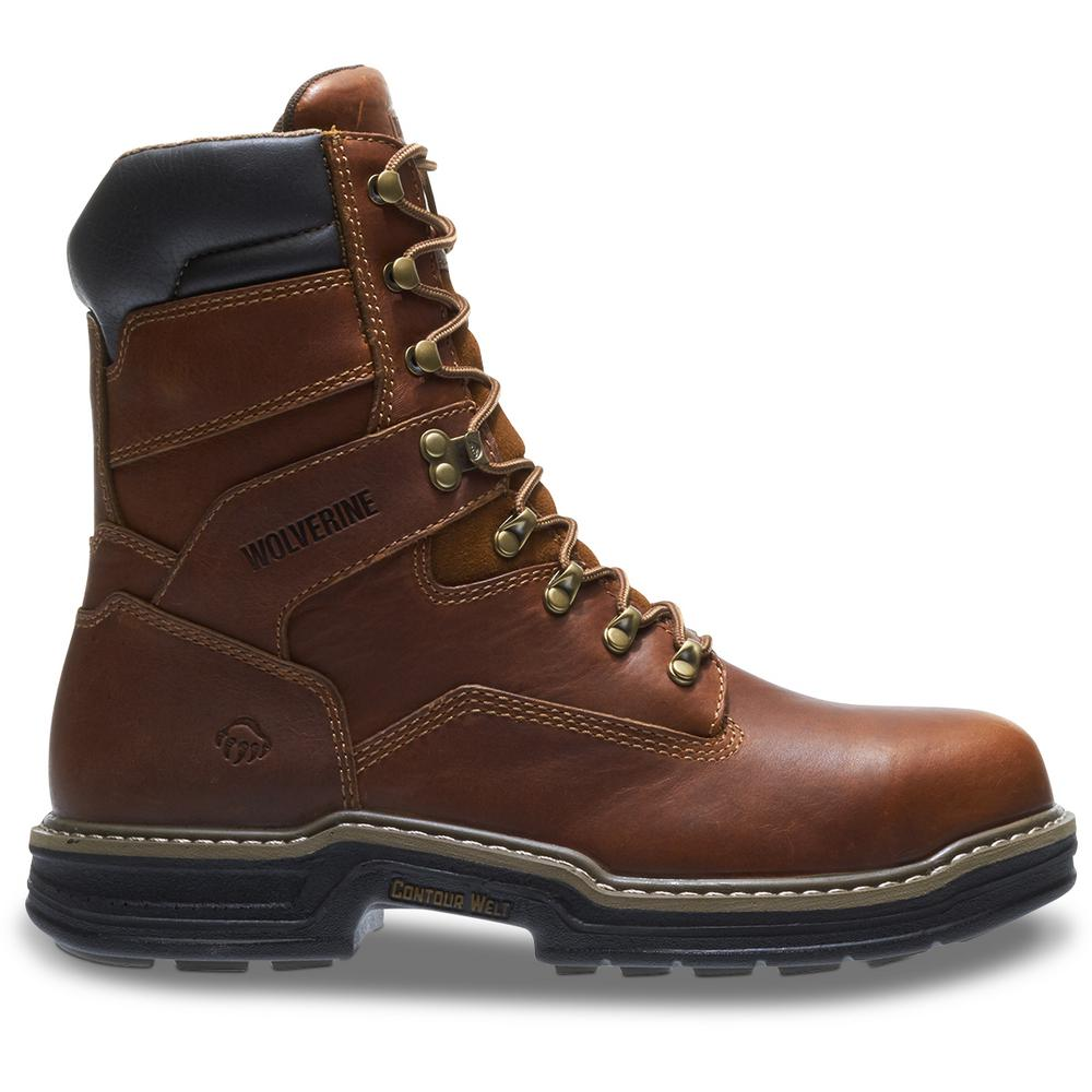 9fbef1ee60e Wolverine Men's Raider Size 10.5EW Brown Full-Grain Leather Steel Toe 8 in.  Boot