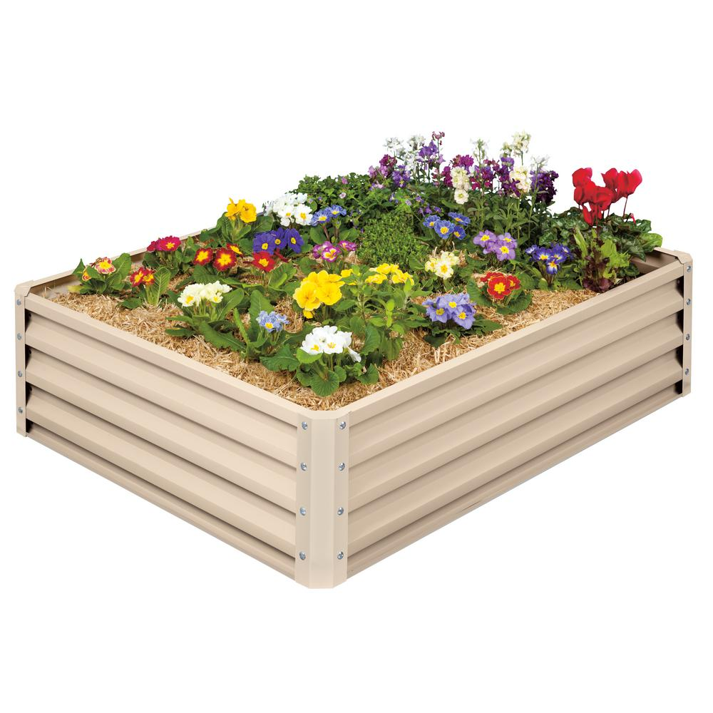 Gardening Beds: Stratco Raised Garden Bed-Galvanized Metal-LG-18294