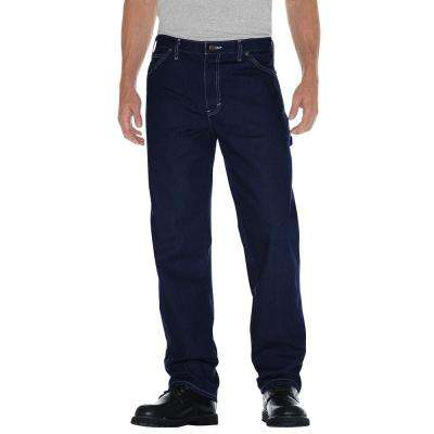 Men's 36 in. x 32 in. Indigo Blue Relaxed Straight Fit Carpenter Denim Jean
