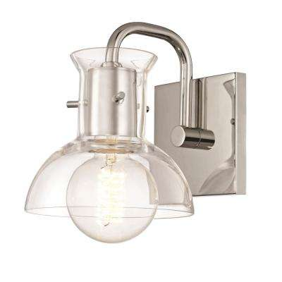 Riley 1-Light Polished Nickel Bath Light with Clear Glass