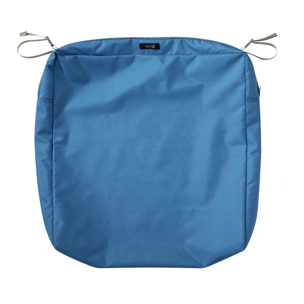 Ravenna 21 in. W x 19 in. D x 5 in. H Rectangular Patio Seat Cushion Slip Cover in Empire Blue