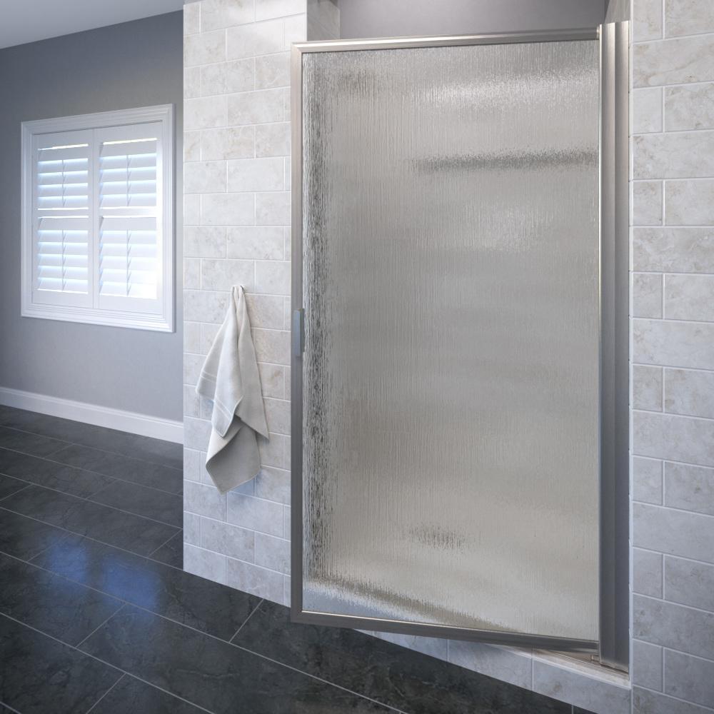 Basco Deluxe 26-1/2 in. x 67 in. Framed Pivot Shower Door in Brushed Nickel
