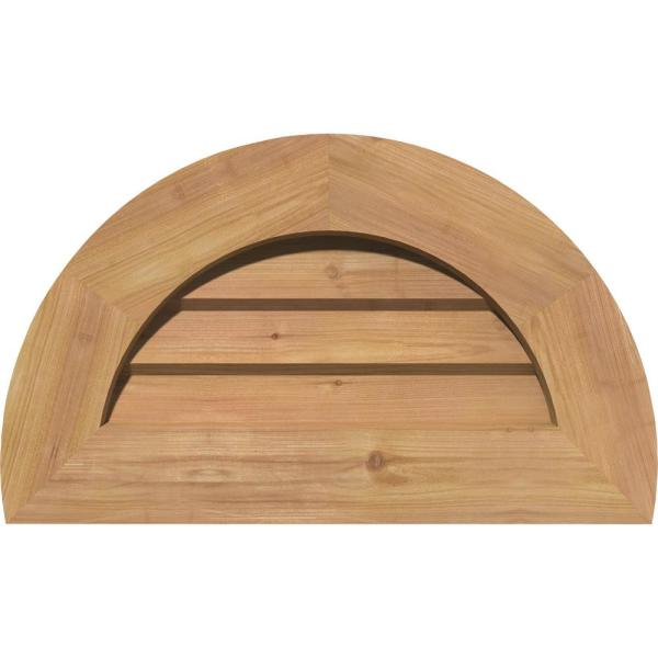 Ekena Millwork 33 In X 19 In Half Round Unfinished Smooth Western Red Cedar Wood Paintable Gable Louver Vent Gvwhr28x1402sduwr The Home Depot