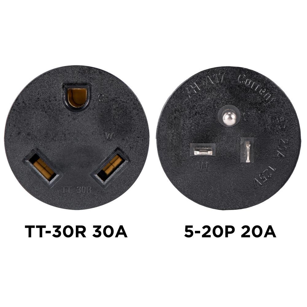 30 Amp 120-Volt 5-20P to TT-30R Generator Plug Adapter