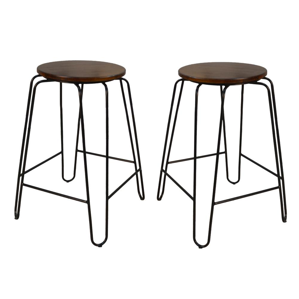 Carolina Cottage Ethan 24 In Elm Stacking Stool Set Of 2