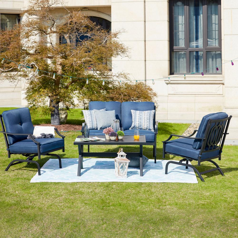 4-Piece Metal Patio Conversation Set with Blue Cushions