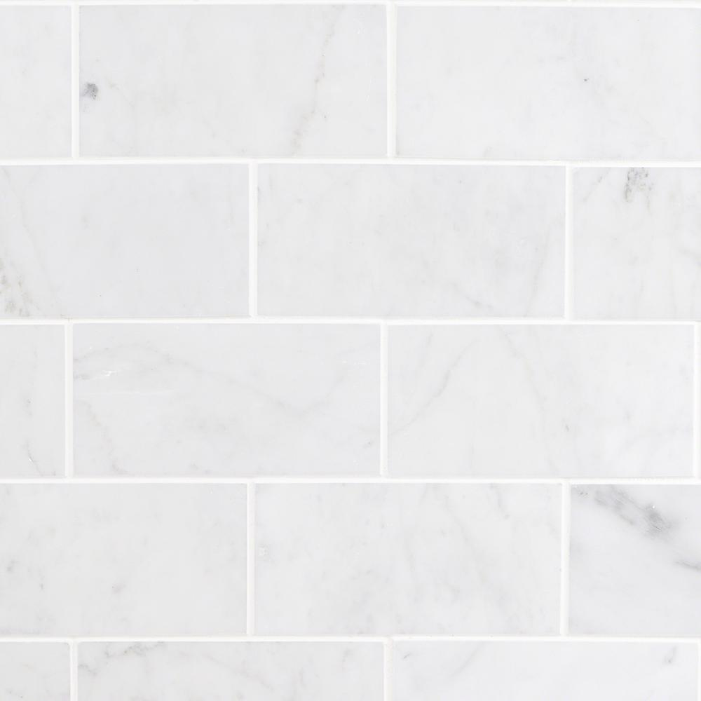 Ivy Hill Tile White Carrara 3 In X 6 9mm Polished Marble