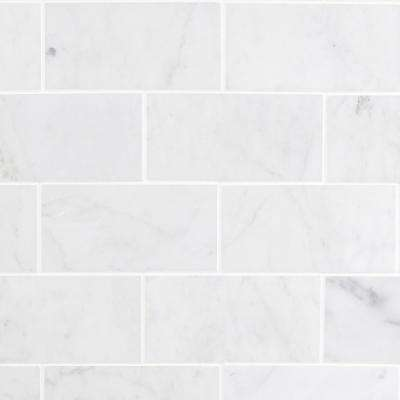 White Carrara 3 in. x 6 in. x 9mm Polished Marble Subway Tile (40 pieces / 5 sq. ft. / box)