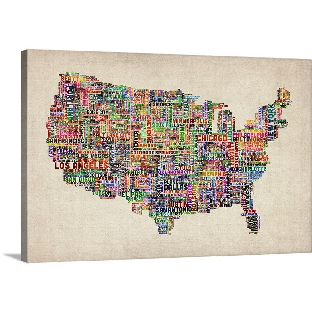 A Big Map Of The United States.Great Big Canvas United States Cities Text Map Multicolor On