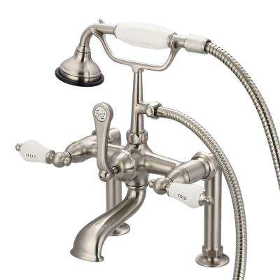 3-Handle Claw Foot Tub Faucet with Labeled Porcelain Lever Handles and Hand Shower in Brushed Nickel