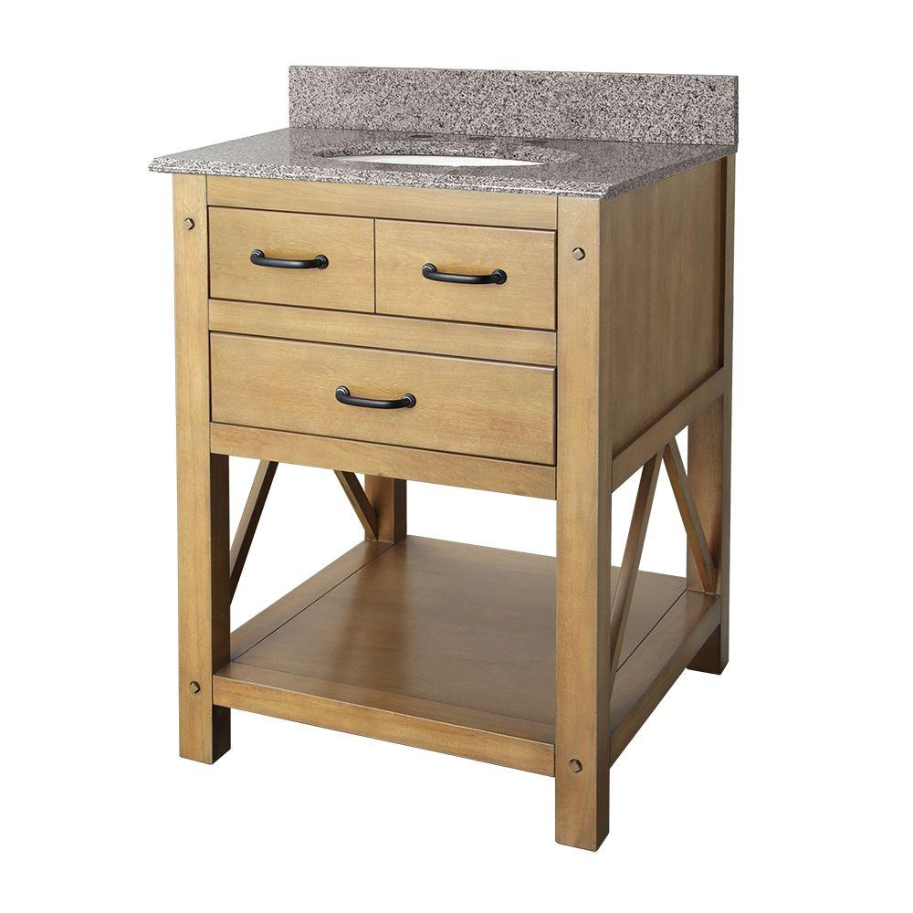 null Avondale 25 in. Vanity in Weathered Pine with Granite Vanity Top in Napoli