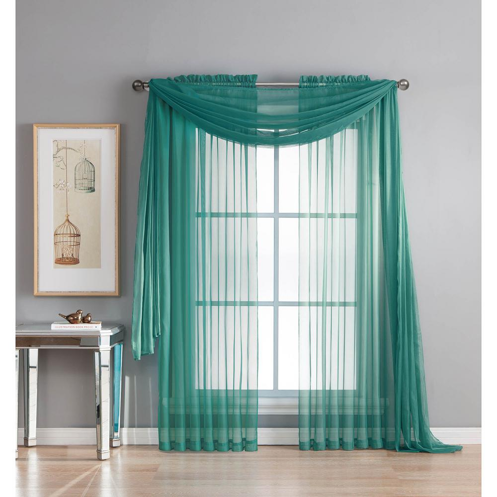 Window Elements Diamond Sheer Voile 56 In. W X 216 In. L Curtain Scarf In  Grey Teal YMC003059   The Home Depot