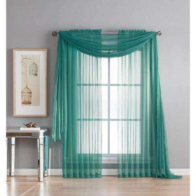 Diamond Sheer Voile 56 in. W x 216 in. L Curtain Scarf in Grey Teal
