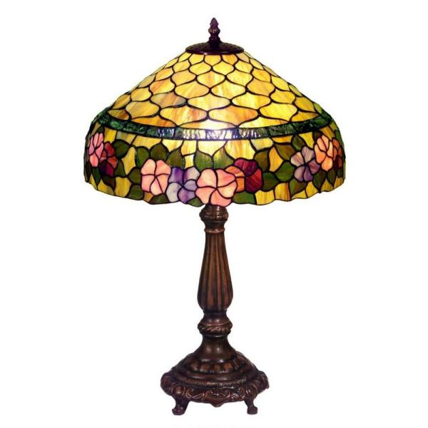 Peony 23 in. Bronze Table Lamp with Stained Glass