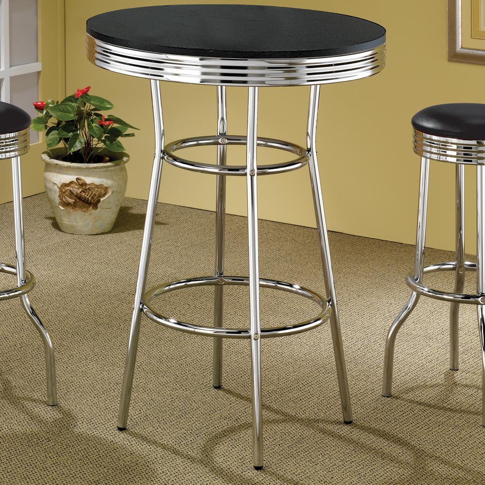 Cleveland Black and Chrome 50's Soda Fountain Bar Table