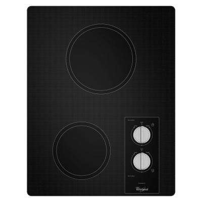 15 in. Ceramic Glass Electric Cooktop in Black with 2 Elements