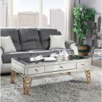 Acme Furniture Stephen Mirrored and Gold Coffee Table