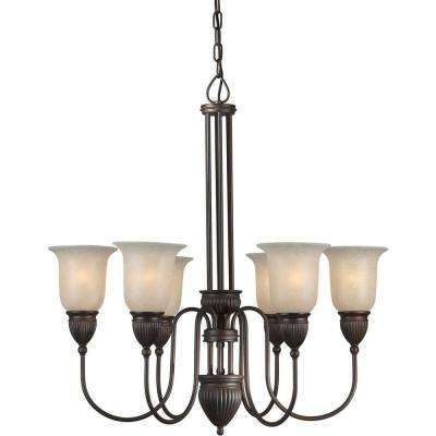 Burton 6-Light Antique Bronze Incandescent Ceiling Chandelier