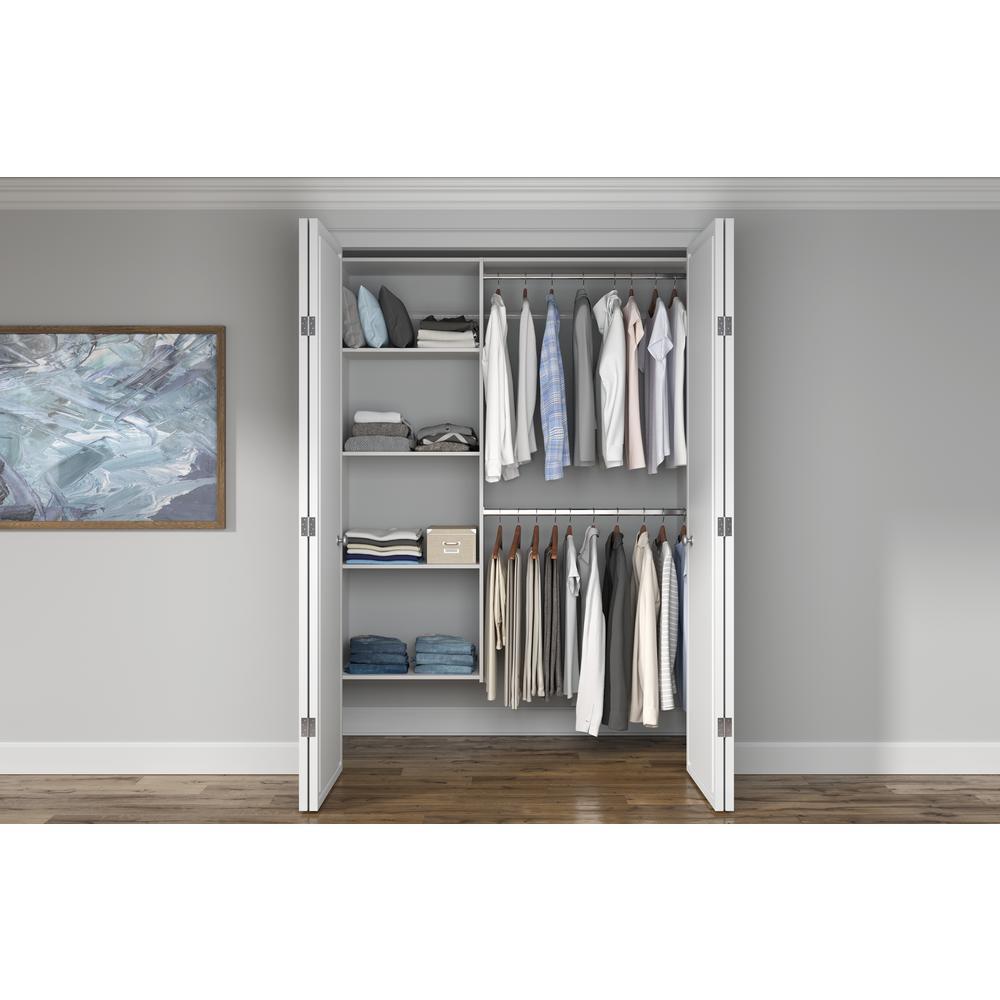 Closet Evolution 36 in. W - 60 in. W White Wood Closet System