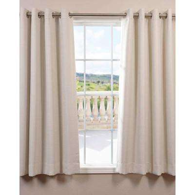 Semi-Opaque Cottage White Bellino Grommet Blackout Curtain - 50 in. W x 63 in. L (Panel)