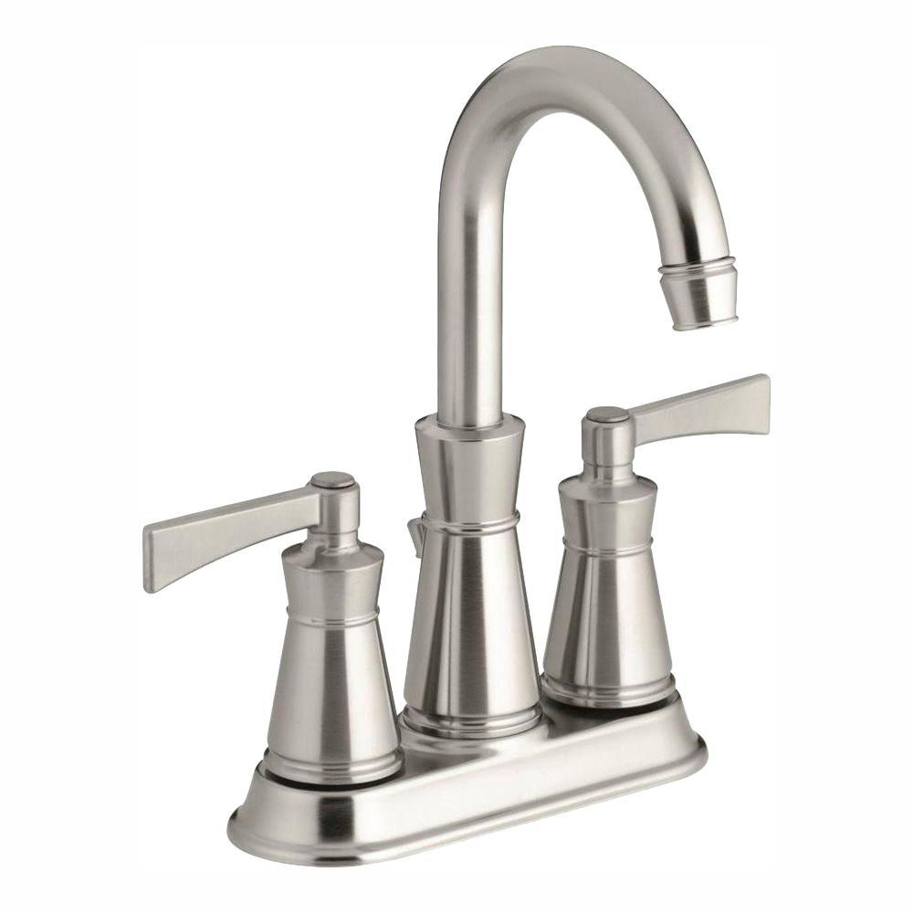 KOHLER Archer 4 in. Centerset 2-Handle High-Arc Water-Saving Bathroom Faucet in Vibrant Brushed Nickel