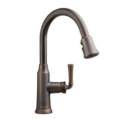Portsmouth Single-Handle Pull-Down Sprayer Kitchen Faucet in Oil Rubbed Bronze