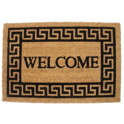Greek Key Welcome 19.5 in. x 29.5 in. Vinyl Back Coco Door Mat