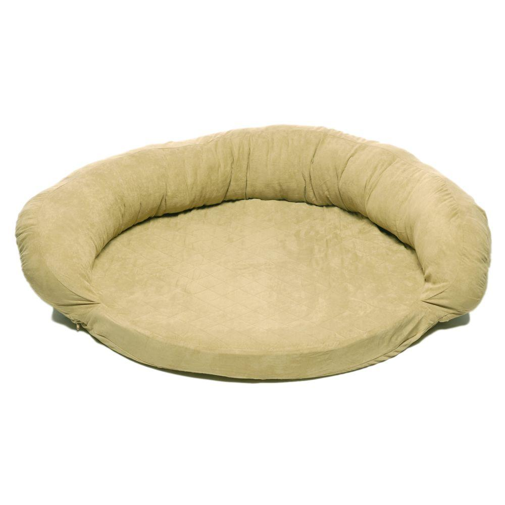 null Medium Protector Pad with Bolster Pet Bed - Sage-DISCONTINUED