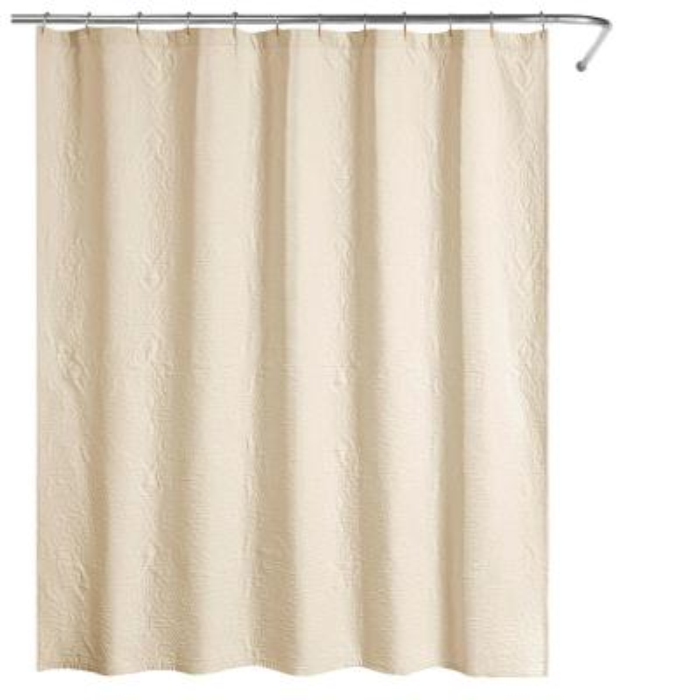 Raphaela European Matelasse 72 in. Shower Curtain Cream