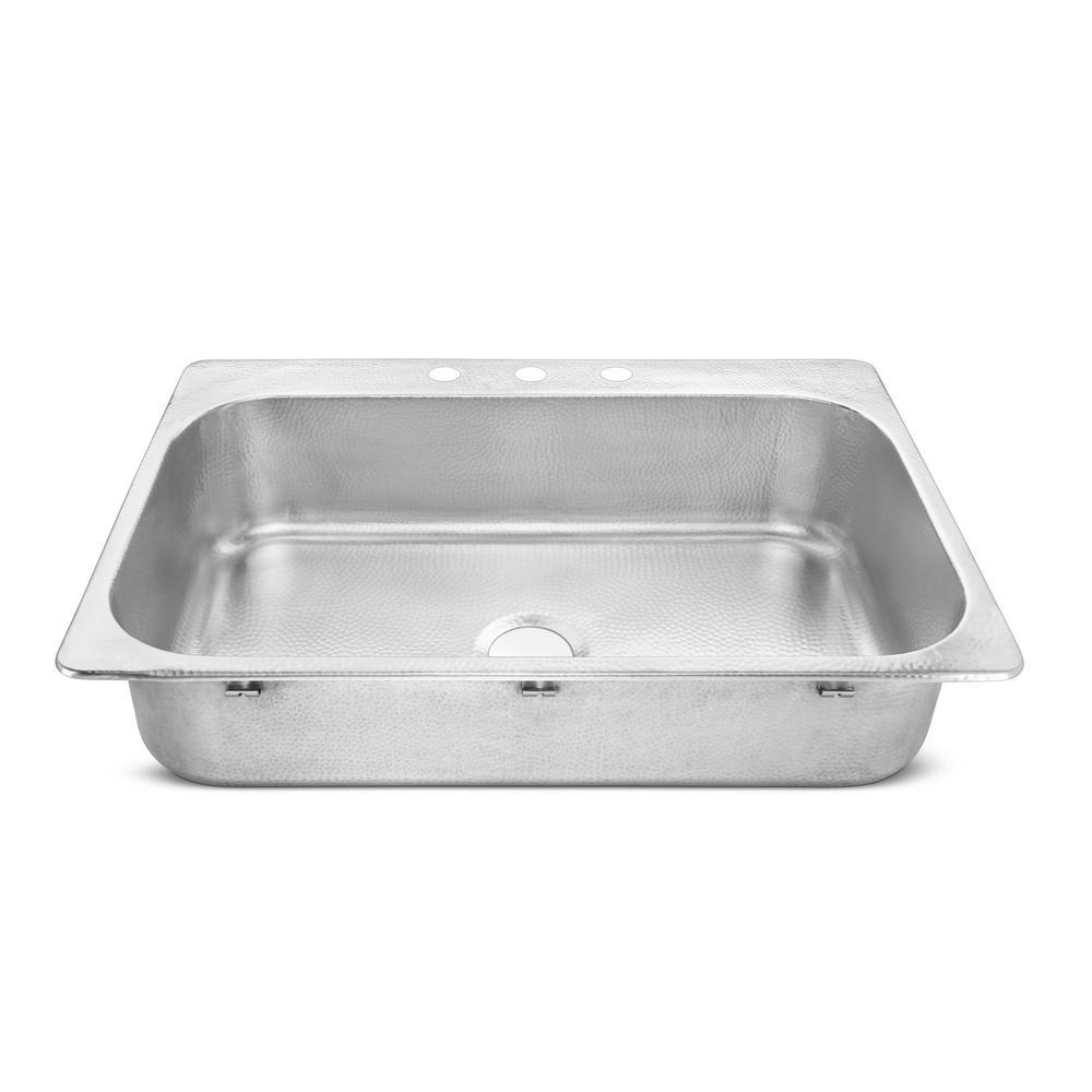 SINKOLOGY Graham Drop-In Crafted Stainless Steel 33 in. Single Bowl Kitchen Sink with Brushed Finish