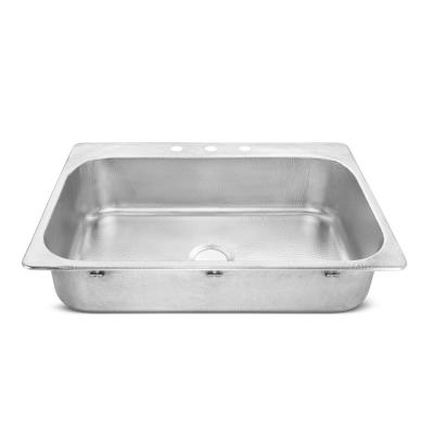 Graham Drop-In Crafted Stainless Steel 33 in. Single Bowl Kitchen Sink with Brushed Finish
