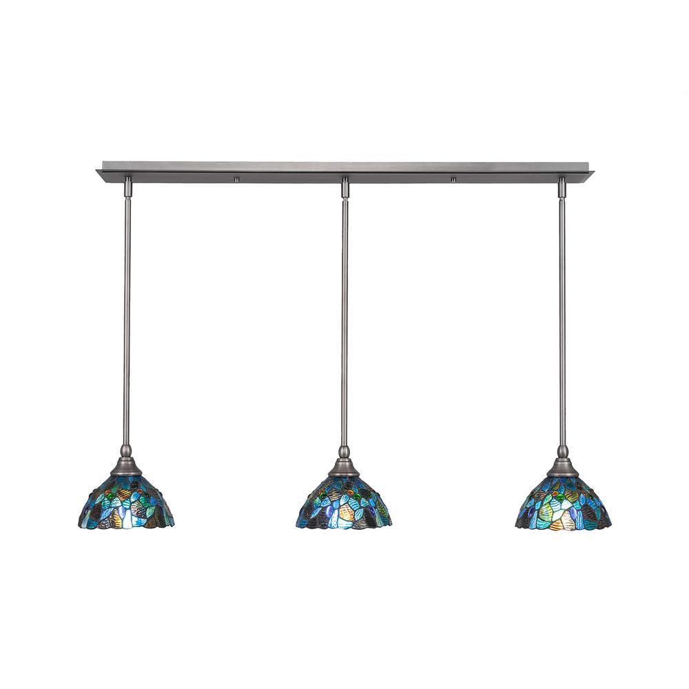 Cambridge 3 Light Brushed Nickel Island Pendant With Blue Mosaic Tiffany Style Gl