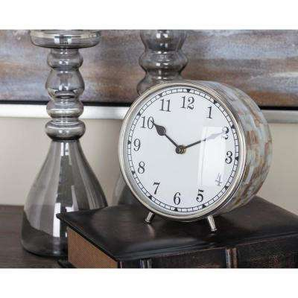 Shell-Inlaid Round Analog Table Clock