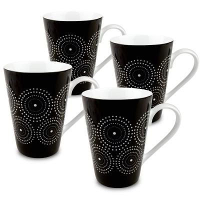 Konitz 4-Piece Black and White Burst Porcelain Mug Set