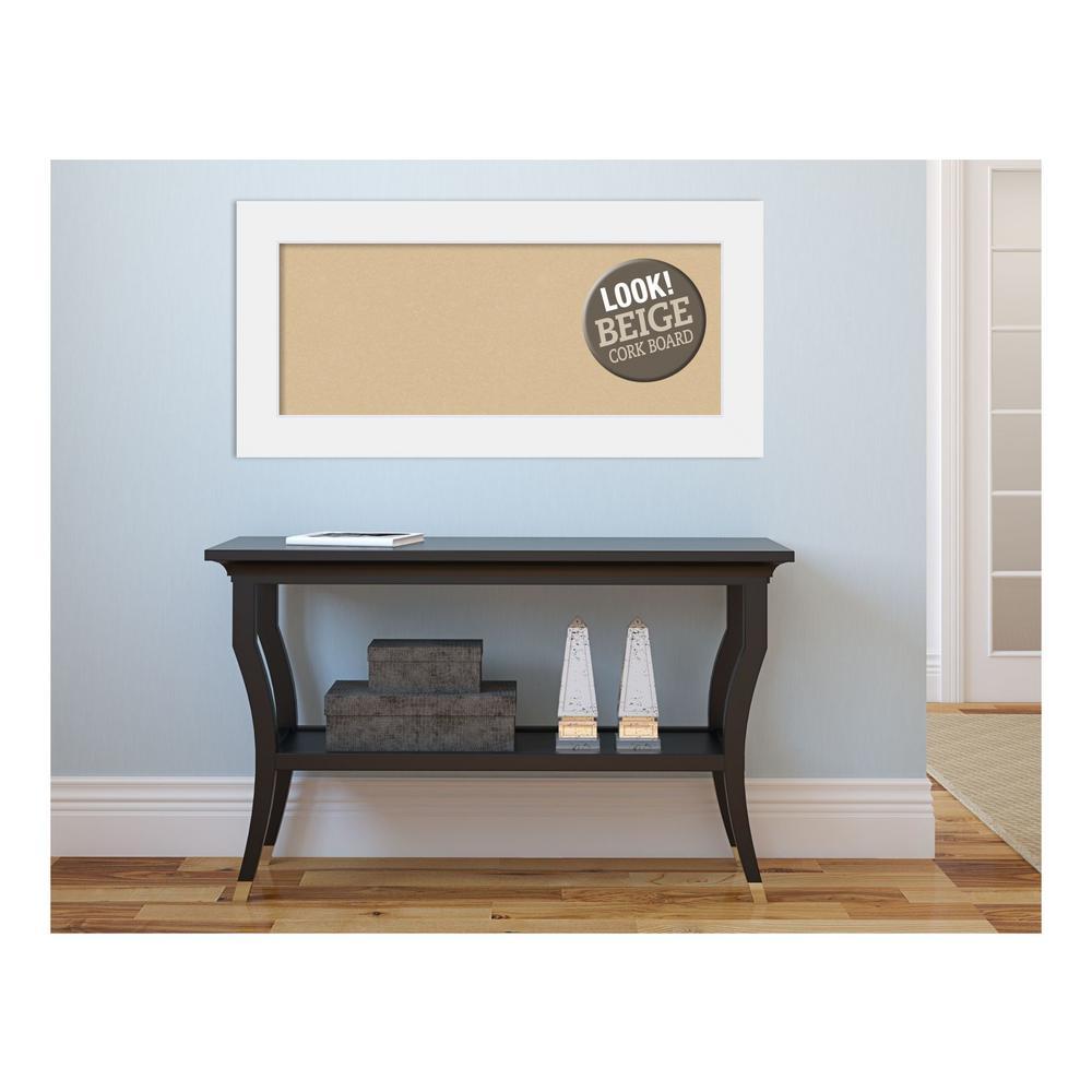 Corvino White Wood 35 in. x 17 in. Framed Beige Cork Board