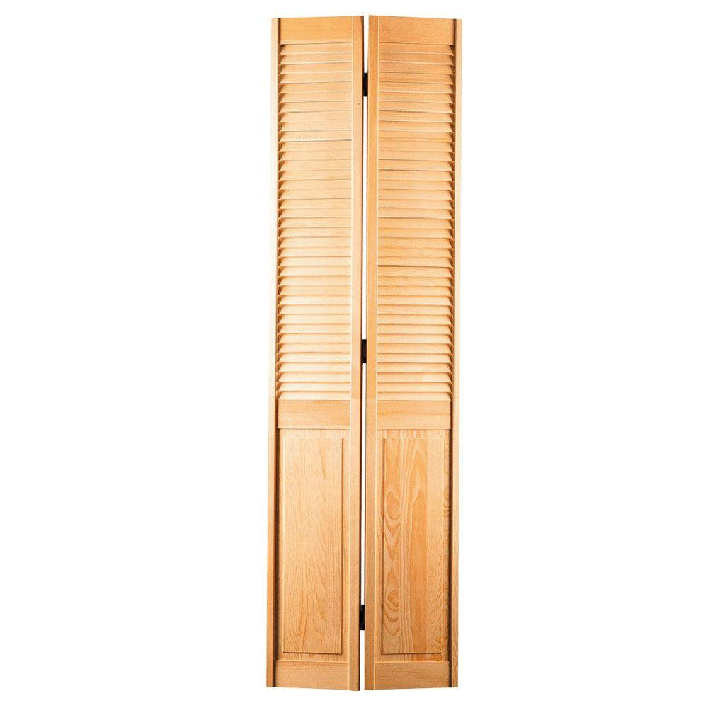 null 30 in. x 80 in. Half-Louver Hollow-Core Smooth Unfinished Pine Bi-fold Door