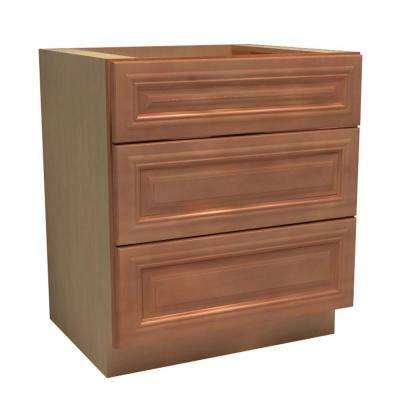 24x34.5x24 in. Dartmouth Assembled Base Drawer Cabinet with 3 Drawers in Cinnamon