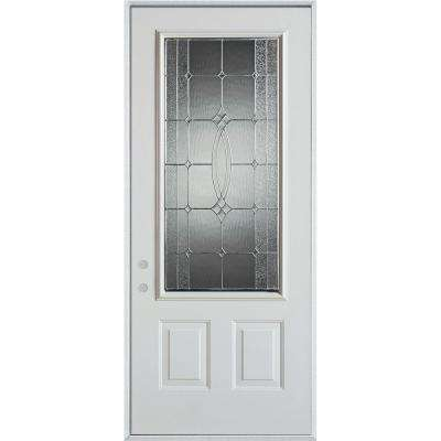 37.375 in. x 82.375 in. Diamanti Classic Zinc 3/4 Lite 2-Panel Painted White Right-Hand Inswing Steel Prehung Front Door