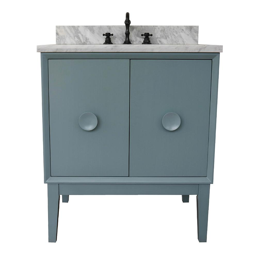 Bellaterra Home Stora 31 in. W x 22 in. D Bath Vanity in Aqua Blue with Marble Vanity Top in White with White Oval Basin