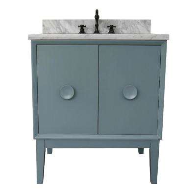 Stora 31 in. W x 22 in. D Bath Vanity in Aqua Blue with Marble Vanity Top in White with White Oval Basin