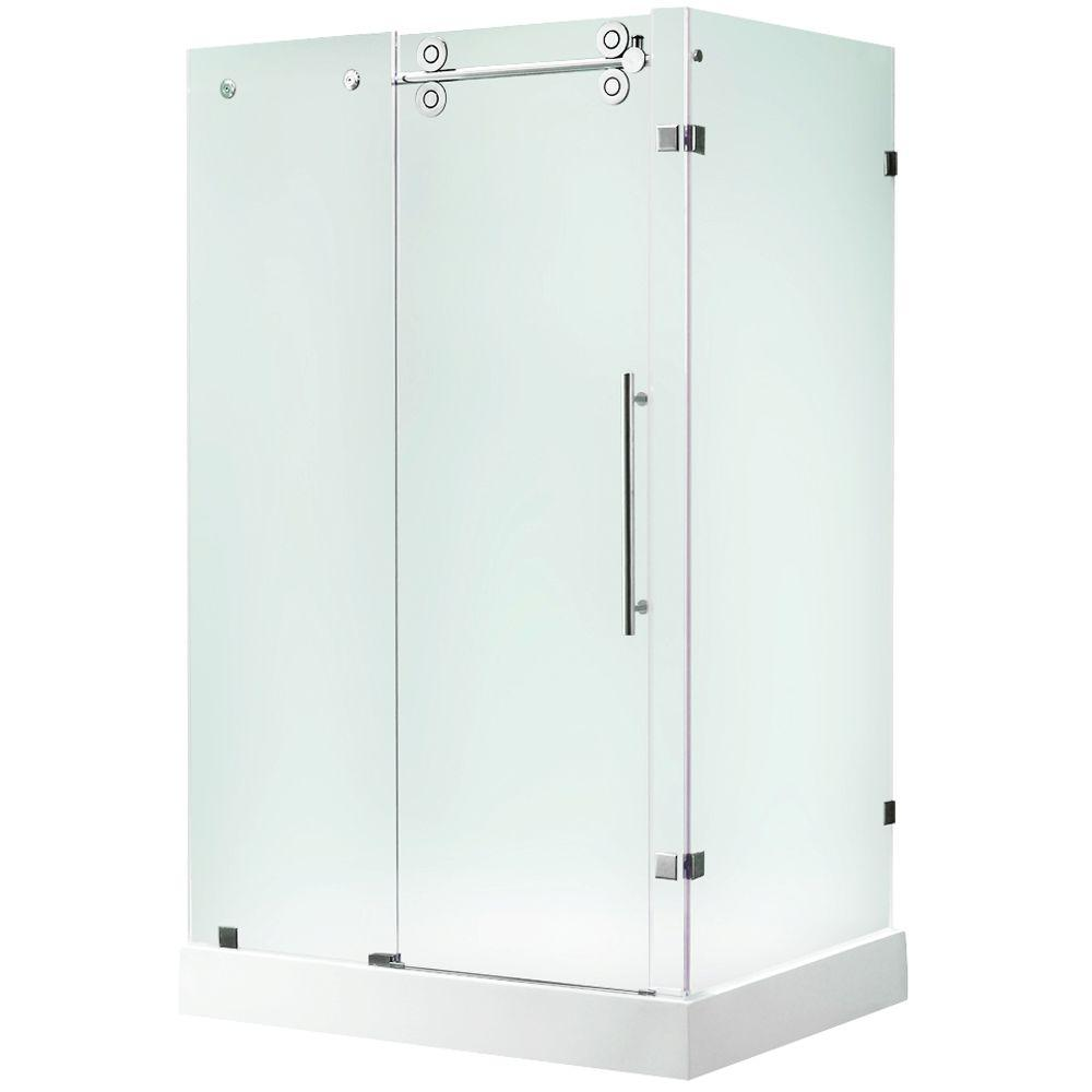 Vigo 48.125 in. x 36.125 in. x 74 in. Frameless Bypass Shower Enclosure in Stainless Steel and Frosted Glass with Left Base