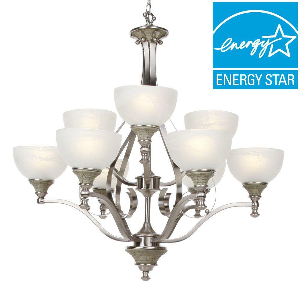 Glomar Rockport Milano 9-Light Brushed Nickel Chandelier-DISCONTINUED